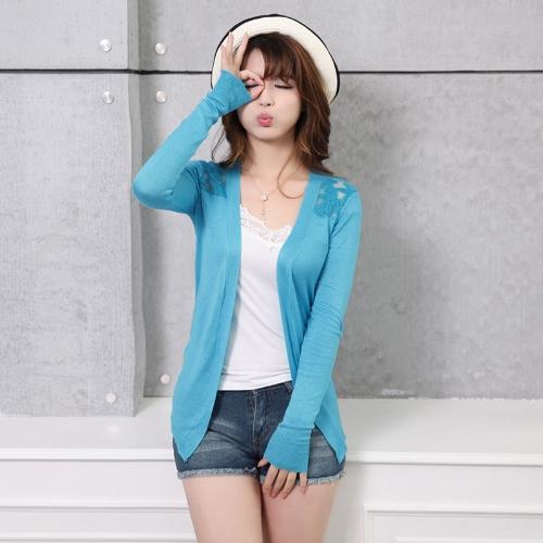 Nouveau mode femmes Cardigan couleur Candy Crochet Floral Blouse fine avant arrière ouverte poil court tricots