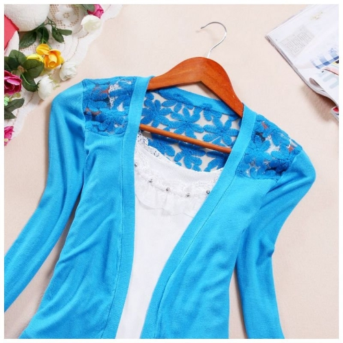 New Fashion Women Cardigan Candy Color Floral Crochet Back Open Front Thin Blouse Short Coat KnitwearApparel &amp; Jewelry<br>New Fashion Women Cardigan Candy Color Floral Crochet Back Open Front Thin Blouse Short Coat Knitwear<br>