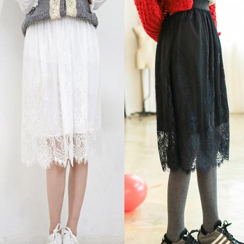 New Fashion Women Skirt Sheer Floral Eyelash Lace Elastic High Waist Midi Skirt White/BlackApparel &amp; Jewelry<br>New Fashion Women Skirt Sheer Floral Eyelash Lace Elastic High Waist Midi Skirt White/Black<br>