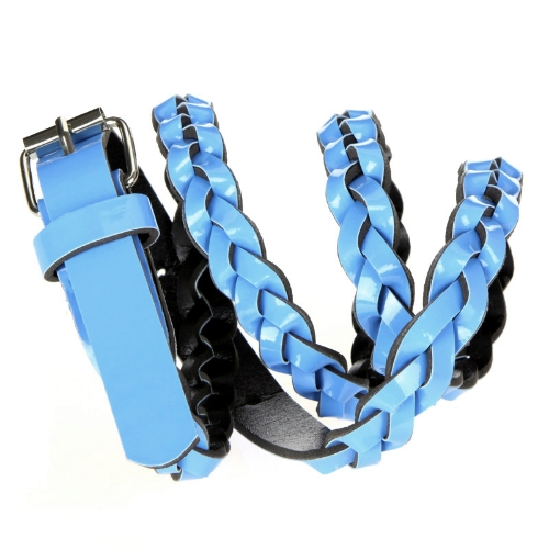 Fashion Women Lady Braided Belt Candy Color Skinny Thin Weave Plaid Buckle Cross Belt PU Leather BlueApparel &amp; Jewelry<br>Fashion Women Lady Braided Belt Candy Color Skinny Thin Weave Plaid Buckle Cross Belt PU Leather Blue<br>