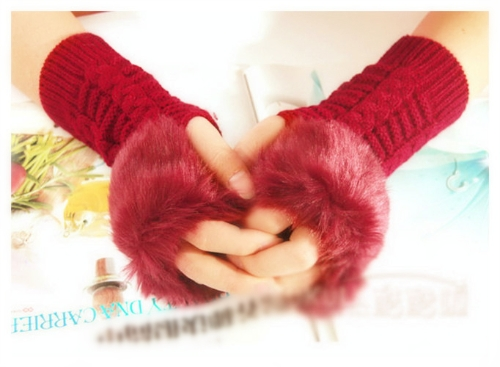 Fashion Winter Women Gloves Mitten Warm Knitted Fingerless Long Faux Fur RedApparel &amp; Jewelry<br>Fashion Winter Women Gloves Mitten Warm Knitted Fingerless Long Faux Fur Red<br>