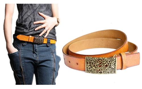 Salida hebilla estampado de flores mujeres Vintage cuero cinturón hueco realza cintura correa cintura Khaki