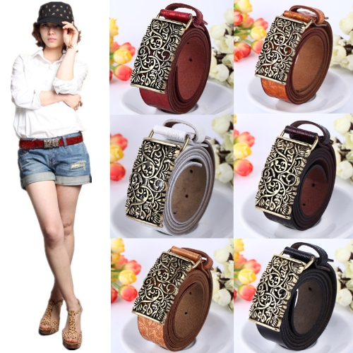 Vintage Women Leather Belt Hollow Out Buckle Flower Print Emboss Waist Strap Waistband KhakiApparel &amp; Jewelry<br>Vintage Women Leather Belt Hollow Out Buckle Flower Print Emboss Waist Strap Waistband Khaki<br>