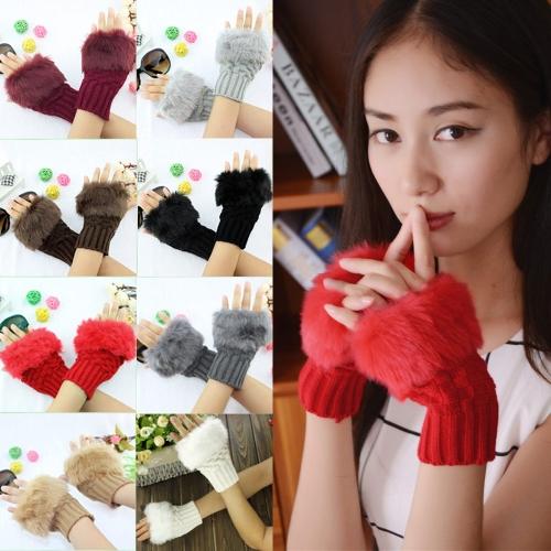 New Fashion Women Gloves Faux Rabbit Fur Fingerless Knitted Warm Short MittensApparel &amp; Jewelry<br>New Fashion Women Gloves Faux Rabbit Fur Fingerless Knitted Warm Short Mittens<br>