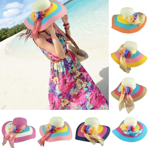 New Fashion Women Straw Hat Foldable Wide Floppy Brim Colorful Sunhat Beach CapApparel &amp; Jewelry<br>New Fashion Women Straw Hat Foldable Wide Floppy Brim Colorful Sunhat Beach Cap<br>