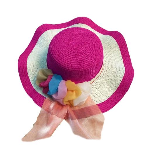 New Summer Women Girl Straw Hat Wide Wave Brim Colorful Ribbon Floppy Foldable Sun Beach HatApparel &amp; Jewelry<br>New Summer Women Girl Straw Hat Wide Wave Brim Colorful Ribbon Floppy Foldable Sun Beach Hat<br>
