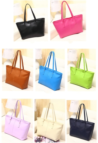 New Fashion Women PU Leather Handbag Candy Color Tote Shoulder Bag BlackApparel &amp; Jewelry<br>New Fashion Women PU Leather Handbag Candy Color Tote Shoulder Bag Black<br>