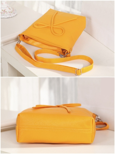 Cute Fashion Women Shoulder Bag Bow Candy Color PU Leather Messenger Bag YellowApparel &amp; Jewelry<br>Cute Fashion Women Shoulder Bag Bow Candy Color PU Leather Messenger Bag Yellow<br>