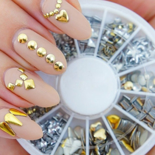 6 Styles Silver/Gold Nail Art 3D Glitter Rhinestones Gems Decoration WheelHealth &amp; Beauty<br>6 Styles Silver/Gold Nail Art 3D Glitter Rhinestones Gems Decoration Wheel<br>