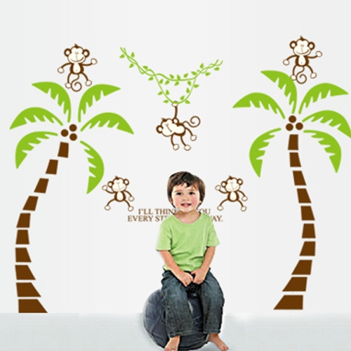 Cute Lovely Five Monkeys Tree DIY Wall Stickers Wallpaper Art Decor Mural for Kid Child Room DecalHome &amp; Garden<br>Cute Lovely Five Monkeys Tree DIY Wall Stickers Wallpaper Art Decor Mural for Kid Child Room Decal<br>