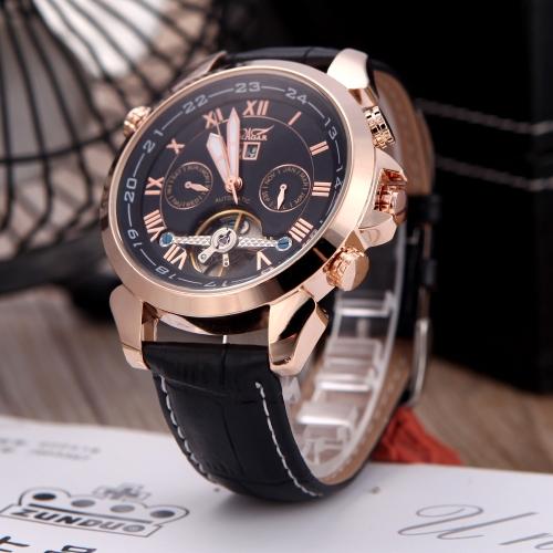 Pulsera mecánico automático Sport reloj cuero banda romana y árabe números Jaragar moda hombre fecha día semana exhibición oro rosa y negro