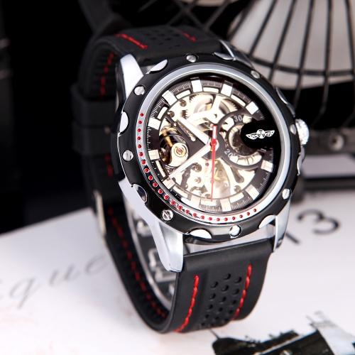 Squelette automatique montre mécanique automatique vainqueur à la mode masculine avec cadran classique Design Silicone poignet bande noire