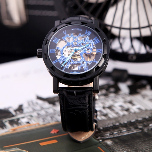 Winner Classic Skeleton Dial Hand Winding Mechanical Sport Army Watch for Men Hollow Transparent Dial with Leather Band Strap BlacApparel &amp; Jewelry<br>Winner Classic Skeleton Dial Hand Winding Mechanical Sport Army Watch for Men Hollow Transparent Dial with Leather Band Strap Blac<br>
