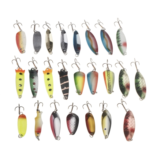 24Pcs Fishing Lure Mixed Color/Size/Weight/Hook/ Metal Spoon Hard Baits TackleSports &amp; Outdoor<br>24Pcs Fishing Lure Mixed Color/Size/Weight/Hook/ Metal Spoon Hard Baits Tackle<br>