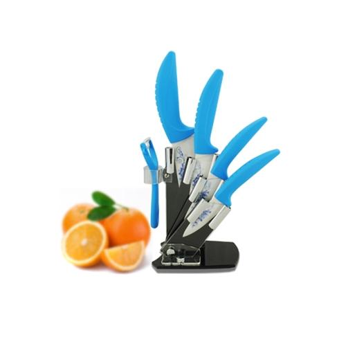 Zirconia Ceramic Kitchen knife Set 3 4 5 6 inch with Blue Flower Printed + Peeler + HolderHome &amp; Garden<br>Zirconia Ceramic Kitchen knife Set 3 4 5 6 inch with Blue Flower Printed + Peeler + Holder<br>