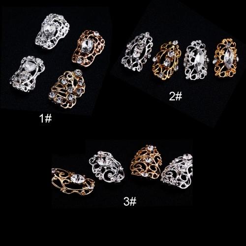 20Pcs DIY Metal Hollowed Rhinestone 3D Nail Art Tip Decoration Golden &amp; Silver 3#Health &amp; Beauty<br>20Pcs DIY Metal Hollowed Rhinestone 3D Nail Art Tip Decoration Golden &amp; Silver 3#<br>