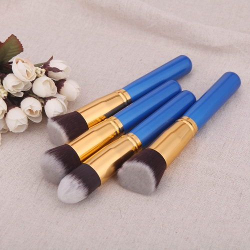 4Pcs Wood Makeup Brush Kit Professional Cosmetic Set Golden Ferrule BlueHealth &amp; Beauty<br>4Pcs Wood Makeup Brush Kit Professional Cosmetic Set Golden Ferrule Blue<br>
