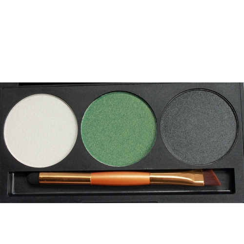 Professional 3 Color Shimmer Glitter Makeup Eyeshadow Palette with Mirror &amp; Double Ended BrushHealth &amp; Beauty<br>Professional 3 Color Shimmer Glitter Makeup Eyeshadow Palette with Mirror &amp; Double Ended Brush<br>
