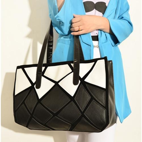 New Fashion Women Handbag PU Leather Patchwork Contrast Geometric Pattern Shoulder Bag Black &amp; WhiteApparel &amp; Jewelry<br>New Fashion Women Handbag PU Leather Patchwork Contrast Geometric Pattern Shoulder Bag Black &amp; White<br>