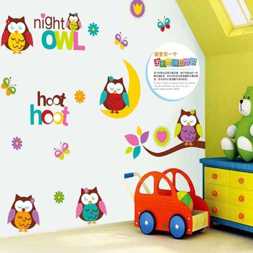 Cartoon Owls Wall Sticker Art Decals Mural DIY Wallpaper for Room Decal 50 * 70cmHome &amp; Garden<br>Cartoon Owls Wall Sticker Art Decals Mural DIY Wallpaper for Room Decal 50 * 70cm<br>