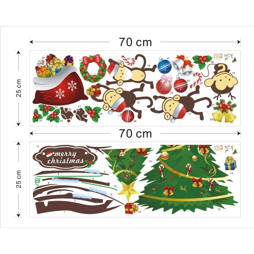2pcs Lovely Monkey Christmas Removable Wall Stickers Art Decals Mural DIY Wallpaper for Room Decal 25 * 70cmHome &amp; Garden<br>2pcs Lovely Monkey Christmas Removable Wall Stickers Art Decals Mural DIY Wallpaper for Room Decal 25 * 70cm<br>