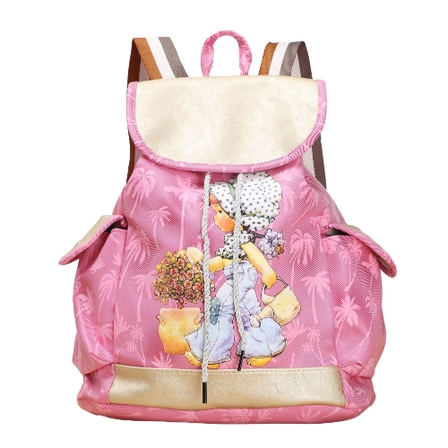 Fashion Women Candy Color Backpack PU Leather Girl Pattern Drawstring Casual Cute School Travelling BagApparel &amp; Jewelry<br>Fashion Women Candy Color Backpack PU Leather Girl Pattern Drawstring Casual Cute School Travelling Bag<br>