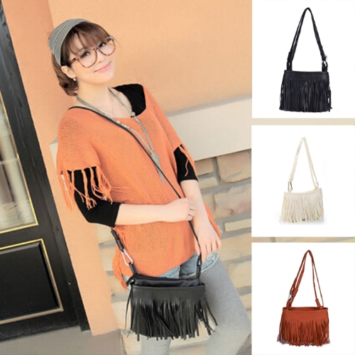 New Fashion Women Mini Shoulder Bag PU Leather Tassel Fringe Satchel Crossbody Messenger BagApparel &amp; Jewelry<br>New Fashion Women Mini Shoulder Bag PU Leather Tassel Fringe Satchel Crossbody Messenger Bag<br>