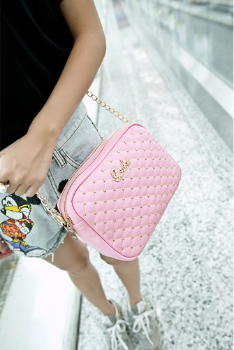 New Fashion Women Shoulder Bag PU Leather Candy Color Quilted Pattern Rivet Crossbody Chain BagApparel &amp; Jewelry<br>New Fashion Women Shoulder Bag PU Leather Candy Color Quilted Pattern Rivet Crossbody Chain Bag<br>