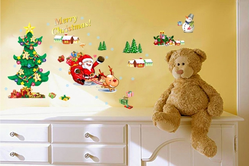 Christmas Tree The Santa Claus Removable Wall Stickers Art Decals Mural DIY Wallpaper for Room Decal 50 * 70cmHome &amp; Garden<br>Christmas Tree The Santa Claus Removable Wall Stickers Art Decals Mural DIY Wallpaper for Room Decal 50 * 70cm<br>