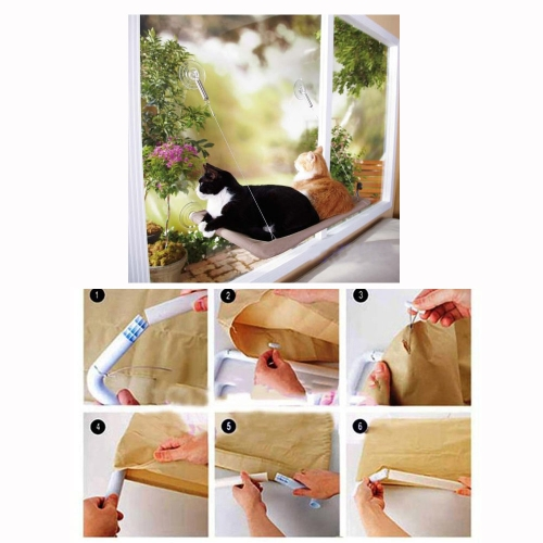 Cat Window Mounted Bed Sunny Seat Pets Hammock Beds Washable Cover 22 * 12