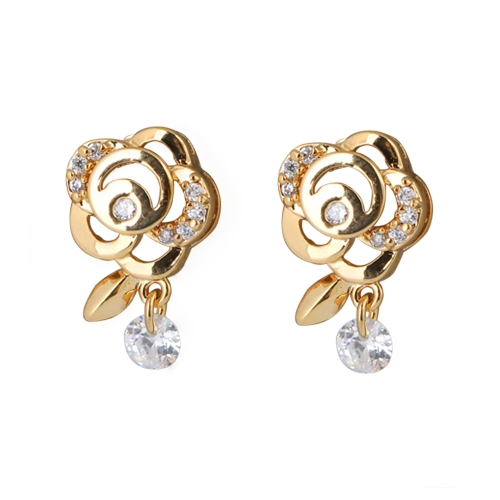 1Pair Clear Crystal Zircon 18K Gold Plated Flower Ear Stud Dangle Earring Drop Pendant Jewelry Gift for Women LadyApparel &amp; Jewelry<br>1Pair Clear Crystal Zircon 18K Gold Plated Flower Ear Stud Dangle Earring Drop Pendant Jewelry Gift for Women Lady<br>