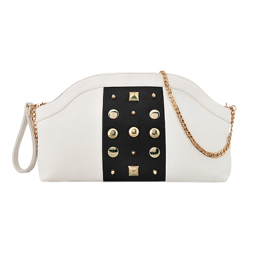 New Fashion Women Chain Shoulder Bag Contrast Color Rivets Decoration Zipper Clutch BagApparel &amp; Jewelry<br>New Fashion Women Chain Shoulder Bag Contrast Color Rivets Decoration Zipper Clutch Bag<br>