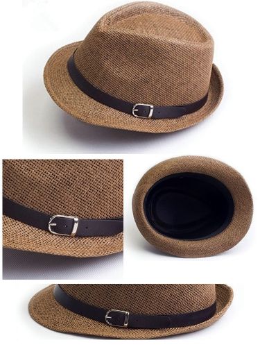 Fashion Women Men Hat Fedora Trilby Cap Straw Beach Sunhat with Belt Unisex CoffeeApparel &amp; Jewelry<br>Fashion Women Men Hat Fedora Trilby Cap Straw Beach Sunhat with Belt Unisex Coffee<br>