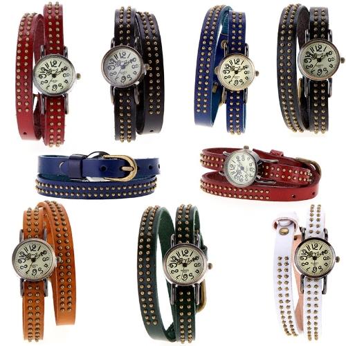 Women Lady Vintage Quartz Wrist Watch Rivets Round Bronze Wrap Strap BraceletApparel &amp; Jewelry<br>Women Lady Vintage Quartz Wrist Watch Rivets Round Bronze Wrap Strap Bracelet<br>