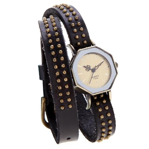 Femmes Lady Quartz Wrist Watch Vintage Rivets octogone Wrap Bronze bracelet Bracelet