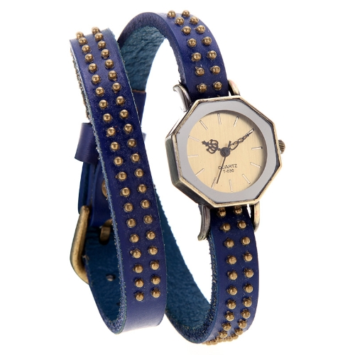 Women Lady Quartz Wrist Watch Vintage Rivets Octagon Bronze Wrap Strap BraceletApparel &amp; Jewelry<br>Women Lady Quartz Wrist Watch Vintage Rivets Octagon Bronze Wrap Strap Bracelet<br>