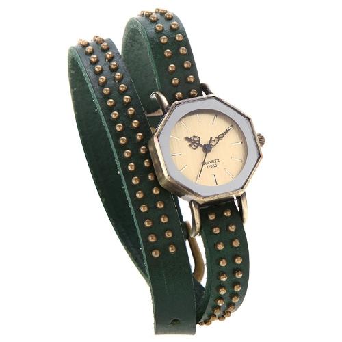 Women Lady Quartz Wrist Watch Vintage Rivets Octagon Bronze Wrap Strap BraceletApparel &amp; Jewelry<br>Women Lady Quartz Wrist Watch Vintage Rivets Octagon Bronze Wrap Strap Bracelet<br>