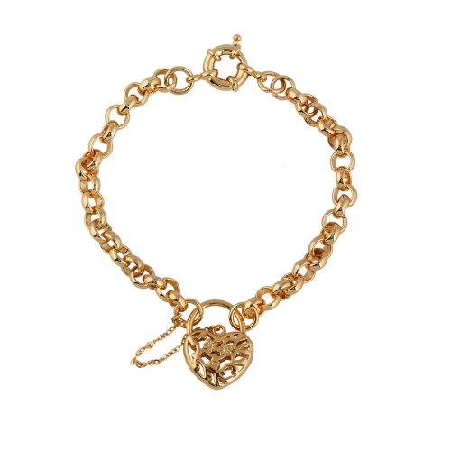 Charm Chain 18K Gold Plated Bracelet Hollow Love Heart Vintage Lock Drop Pendant Luxury Jewelry Gift for Lady Girl WomenApparel &amp; Jewelry<br>Charm Chain 18K Gold Plated Bracelet Hollow Love Heart Vintage Lock Drop Pendant Luxury Jewelry Gift for Lady Girl Women<br>