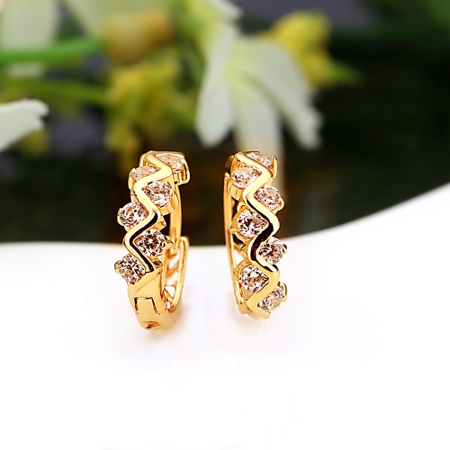 1Pair Clear Crystal Zircon 18K Gold Plated Wave Hollow Hoop Earrings Jewelry Gift for Women LadyApparel &amp; Jewelry<br>1Pair Clear Crystal Zircon 18K Gold Plated Wave Hollow Hoop Earrings Jewelry Gift for Women Lady<br>