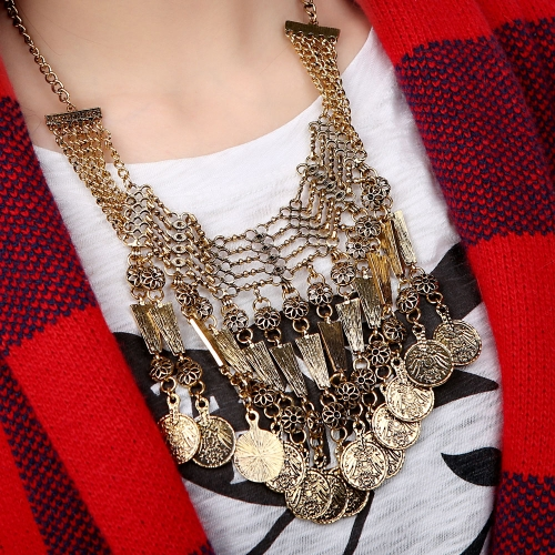 Retro Ethnic Turkish Indian Bohemian Style Jewelry Carving Coin Pendant Tassels Necklace Vintage Antique Chunky Metal ChockerApparel &amp; Jewelry<br>Retro Ethnic Turkish Indian Bohemian Style Jewelry Carving Coin Pendant Tassels Necklace Vintage Antique Chunky Metal Chocker<br>