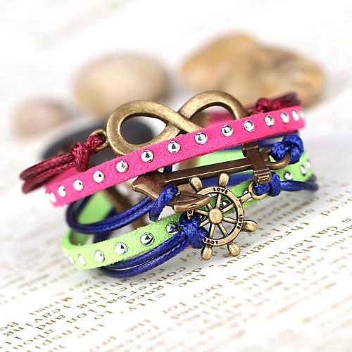 Moda Vintage Retro Punk Rock multicapa cuero trenzado colgantes pulsera brazalete accesorio de la joyería