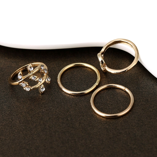 4PCS/Set Fashion Rings Gold Plated Crystal Plain Above Knuckle Ring Mix ShapeApparel &amp; Jewelry<br>4PCS/Set Fashion Rings Gold Plated Crystal Plain Above Knuckle Ring Mix Shape<br>