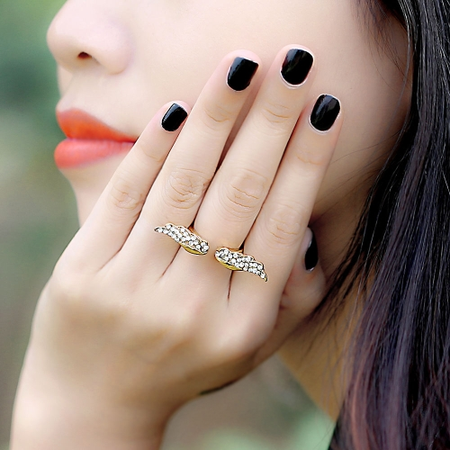 Adjustable Vintage Angel Wing Gold Plated Crystal Rhinestone Fashion Charming Design Ring for LoversApparel &amp; Jewelry<br>Adjustable Vintage Angel Wing Gold Plated Crystal Rhinestone Fashion Charming Design Ring for Lovers<br>