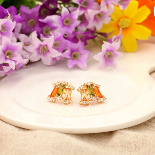 Copper Alloy 18K Gold Plated Zircon Stud Earrings Jewelry Gift for Women LadyApparel &amp; Jewelry<br>Copper Alloy 18K Gold Plated Zircon Stud Earrings Jewelry Gift for Women Lady<br>