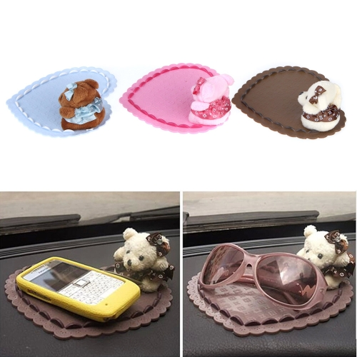 Auto Car Non-slip Mat Mobile Phone Bear Doll Slip-resistant Heart Pad BlueCar Accessories<br>Auto Car Non-slip Mat Mobile Phone Bear Doll Slip-resistant Heart Pad Blue<br>