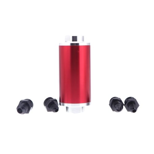 Universal Fuel Filter with 2pcs AN6/AN8/AN10 Adaptor Fittings Total 6pcs Black Fittings RedCar Accessories<br>Universal Fuel Filter with 2pcs AN6/AN8/AN10 Adaptor Fittings Total 6pcs Black Fittings Red<br>