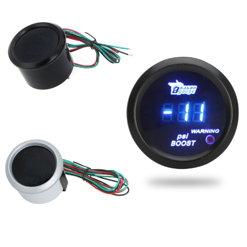 Digital Turbo Boost Gauge Meter with Sensor for Auto Car 52mm 2in LCD -14~29 PSI Warning Light BlackCar Accessories<br>Digital Turbo Boost Gauge Meter with Sensor for Auto Car 52mm 2in LCD -14~29 PSI Warning Light Black<br>