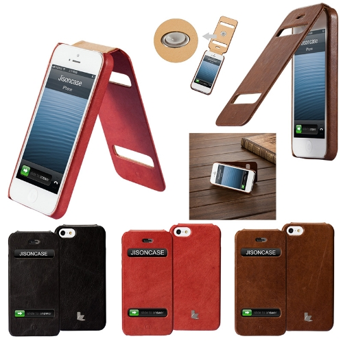 Jisoncase Genuine Leather Flip Case Cover  for  iPhone 5Cellphone &amp; Accessories<br>Jisoncase Genuine Leather Flip Case Cover  for  iPhone 5<br>