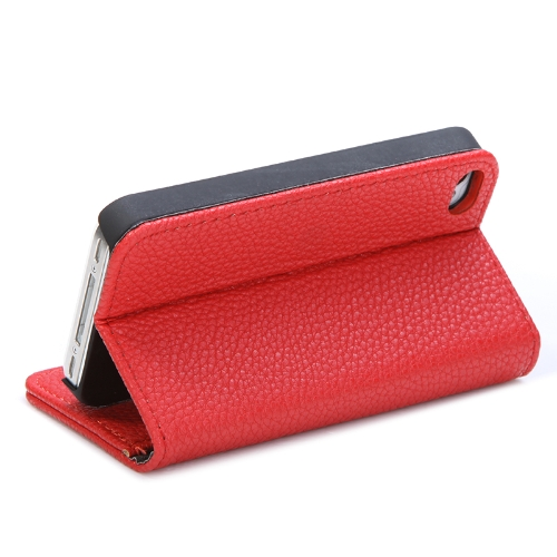 Fashion Wallet Case Flip Leather Stand Cover with Card Holder for iPhone 4 4s 4g RedCellphone &amp; Accessories<br>Fashion Wallet Case Flip Leather Stand Cover with Card Holder for iPhone 4 4s 4g Red<br>