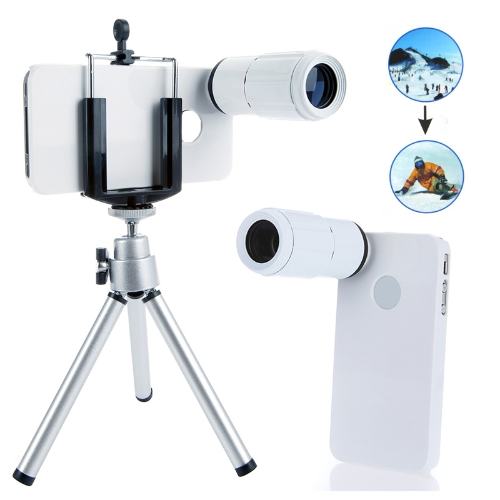 8X Magnification Mobile Phone Telescope Magnifier Optical Camera Lens with Tripod + Holder + Case for iPhone 4 4s WhiteCellphone &amp; Accessories<br>8X Magnification Mobile Phone Telescope Magnifier Optical Camera Lens with Tripod + Holder + Case for iPhone 4 4s White<br>